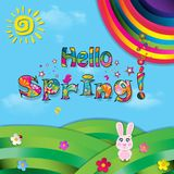 Hello spring vector cartoon colorful paper illustration. Of beautiful landscape with sun, flowers, birds and rainbow on green field with grass and blue cloudy Royalty Free Stock Image