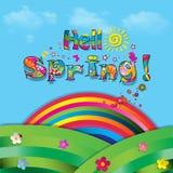 Hello spring vector cartoon paper illustration with rainbow. Hello spring vector cartoon colorful paper illustration of beautiful landscape with sun, flowers Stock Images