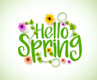Hello Spring Vector Design with 3D Realistic Fresh Plants and Flowers Stock Photography