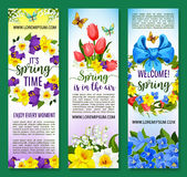 Hello Spring vector floral banners set. Welcome Spring greeting banners for springtime holiday design of flowers crocus, forget-me-not, narcissus or snowdrops Stock Photo