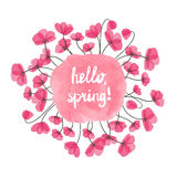 Hello spring vector illustration. Watercolor pink splash and delicate flowers Stock Photos
