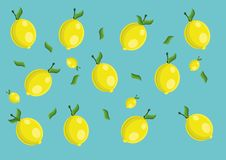 Hello spring. Vector lemon pattern and background Stock Images