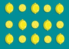 Hello spring. Vector lemon pattern and background Royalty Free Stock Images