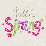 Hello spring. Vector lettering Hello spring with decorative flower elements on a floral hand drawn background vector illustration