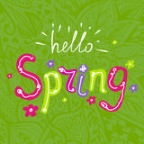 Hello spring. Vector lettering Hello spring with decorative flower elements on a green floral hand drawn background stock illustration