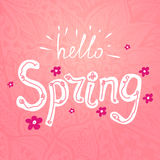 Hello spring. Vector lettering Hello spring with decorative flower elements on pink floral hand drawn background vector illustration