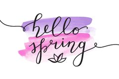Hello spring lettering Royalty Free Stock Photography