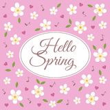 Hello spring vector pattern on pink background. Stock Photo