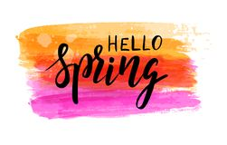 Hello spring watercolor brushed background. Hello Spring hand lettering phrase on watercolor imitation color brushed background. Modern calligraphy inspirational royalty free illustration