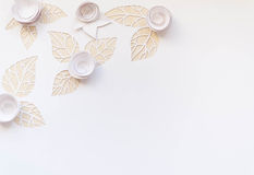 Hello, spring! White paper flowers. White paper flowers on white background. Cut from paper. Place for your text Royalty Free Stock Image