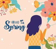 Free Hello Spring Woman Holding Flowers Floral Nature Decoration Stock Images - 173900864