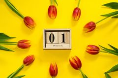 Hello spring! Wooden cubic calendar with date of 1 March surrounded with red tulip flowers. Bright spring composition flat lay stock photography