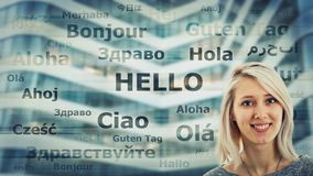 Hello. Student girl portrait and word hello translated in different languages on modern background. Young school teacher learning and speaking many languages stock photos