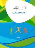 Hello summer Brazil. Rio Olympic games poster. Abstract summer background with jumping kids. For Art, Print, Web design. Happy kids jumping, sea beach, holiday royalty free illustration