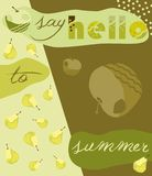 Hello summer apple pear background with text Royalty Free Stock Photos