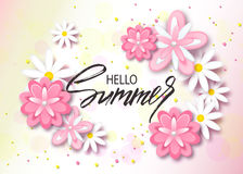 Hello summer background with beautiful flowers. Greeting card with hand drawn lettering. Vector illustration template, banners. Wa royalty free illustration