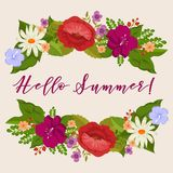 Hello summer background with cartoon flowers. Hello summer background with cartoon colored blossom flowers. Vector illustration Royalty Free Stock Photo