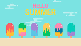 Hello summer background. Colorful of ice cream icon design. Vect Stock Images