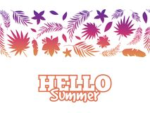 Hello summer background with colorful tropical leaves Royalty Free Stock Photos