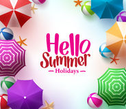 Hello Summer Background with 3D Realistic Colorful Beach Umbrella Stock Photo