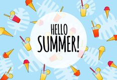 Hello summer background with ice cream and drinks. Vector hello summer blue background banner with ice cream and drinks royalty free illustration