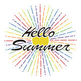 Hello summer background. lettering design. vector  Stock Image