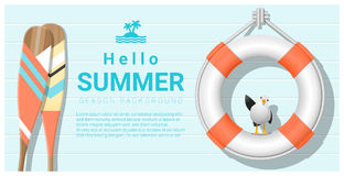 Hello summer background with lifebuoy and canoe paddle Royalty Free Stock Photo