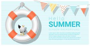 Hello summer background with lifebuoy Stock Photos