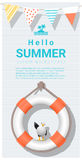 Hello summer background with lifebuoy Royalty Free Stock Photo