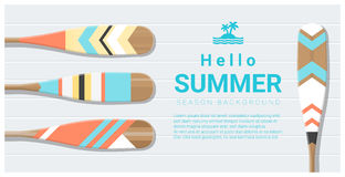 Hello summer background with painted canoe paddle Stock Photos