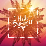Hello summer background with palm and frame Stock Photo