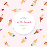Hello summer background. Pattern with ice cream cones added in swatches. Royalty Free Stock Photo