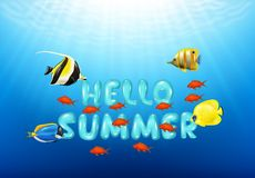 Hello Summer Background with Tropical fish. Illustration of Hello Summer Background with Tropical fish Stock Images