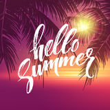 Hello summer  background. Tropical palm leaves pattern, handwriting lettering. Palm Tree branches. Tropic paradise Royalty Free Stock Photos
