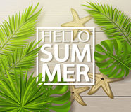 Hello summer background with tropical plants, leaves, starfish and drops on wooden board . Vector illustration. Royalty Free Stock Image