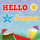 Hello summer background Royalty Free Stock Photos