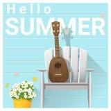 Hello summer background with ukulele on white chair Stock Photo