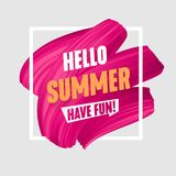Hello Summer banner, brush painted pink smear, Royalty Free Stock Photography