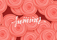 Hello summer banner. Flowers beautiful roses in the style of paper art illustration Stock Photography