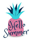 Hello summer banner with fruit, place for text with pineapple. Trendy seasonal  background, brochure template. Royalty Free Stock Photo