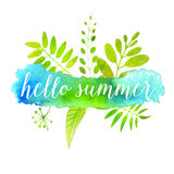 Hello summer banner on green watercolor paint Royalty Free Stock Photography