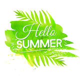 Hello summer banner on green watercolor paint Royalty Free Stock Images