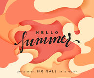 Hello Summer banner. Melted 3D colorful background in style paper art illustration. Bright poster summer sale royalty free illustration