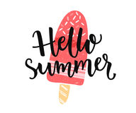 Hello Summer Banner With Modern Calligaphy Caption And Hand Drawn Ice Cream  On The Stick Stock