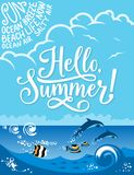 Hello Summer banner for summertime holiday design. Hello Summer poster for beach holiday, vacation and travel design. Blue sea with tropical fish and dolphin Royalty Free Stock Images