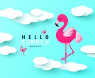 Hello Summer banner with Sweet pink flamingo, butterflies and clouds on blue background. Paper Art. Vector illustration. vector illustration