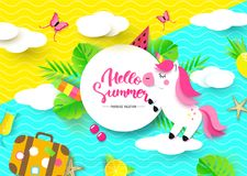 Hello Summer banner with Sweet unicorn and other travel elements. Paper Art. Vector illustration. royalty free illustration
