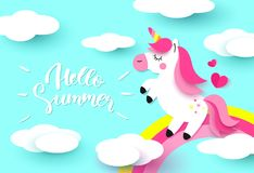 Hello Summer banner with Sweet unicorn, rainbow and clouds on blue background. Paper Art. Vector illustration vector illustration