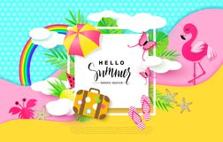 Hello Summer banner with Sweet Vacation Elements. Paper Art. Tropical plants, butterflies,pink flamingo, pineapple, crab. Rainbow,flip flops, umbrella vector illustration