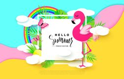 Hello Summer banner with Sweet Vacation Elements. Paper Art. Tropical plants, butterflies,pink flamingo, pineapple Royalty Free Stock Photos